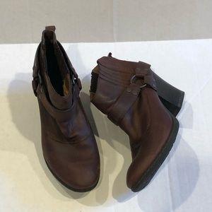 BOC brown leather booties slip on heeled